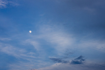 Nature of landscape blue sky and cloud with white moon.