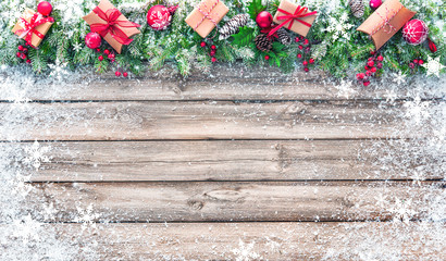 Christmas background with decorations and gift boxes