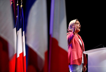 French far-right National Rally (Rassemblement National) party leader Marine Le Pen delivers her speech in Mantes-la-Ville