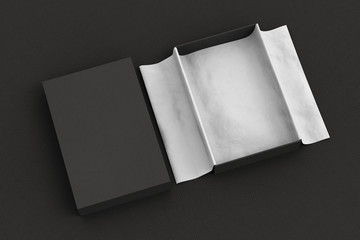 gift box mockup with unfolded wrapping paper