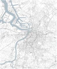 Cartina di Anversa, vista satellitare, mappa in bianco e nero. Stradario e mappa della città. Belgio