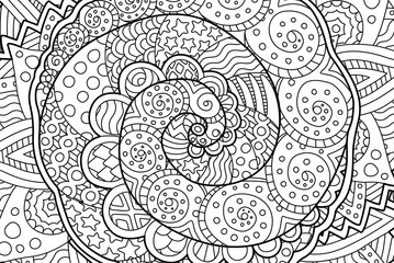 coloring book page with abstract art with spiral