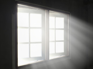 Light rays through pass window in living room