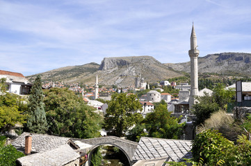 Scenic view of the historic city of Mostar, Bosnia And Herzegovina.