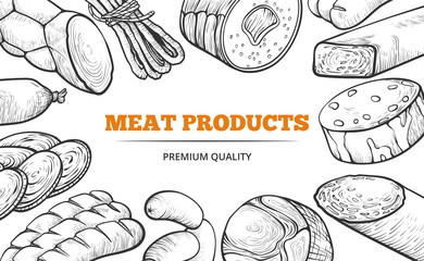Natural sausages and meat product line art banner