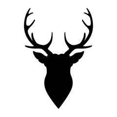 Silhouette horned deer on white background.