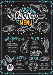 Christmas menu for seafood restaurant, food template.