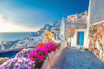 Tuinposter Santorini island, village Oia in Greece. Spectacular view of old street blooming with spring colorful flowers.