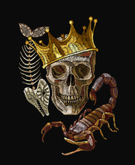 Embroidery golden crown and skull, skeleton of fish and scorpion. Gothic romanntic embroidery human skulls, clothes template and t-shirt design