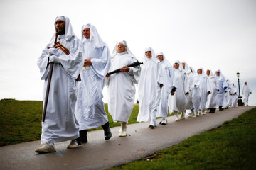 Members of the Druid Order take part in a ceremony to celebrate the autumn equinox, on Primrose Hill in London