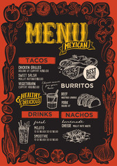 Mexican menu for restaurant with frame of graphic vegetables.