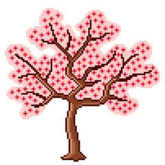 Pixel art sakura tree detailed isolated vector