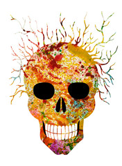 Art Surreal Abstract Skull. Hand painting and make graphic.
