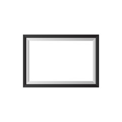 Realistic horizontal picture frame isolated on white background with black border. Photo Frame vector illustration. EPS10 compatible