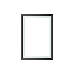 Realistic vertical picture frame isolated on white background with black border. Photo Frame vector illustration. EPS10 compatible