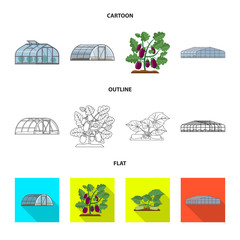 Isolated object of greenhouse and plant icon. Collection of greenhouse and garden vector icon for stock.