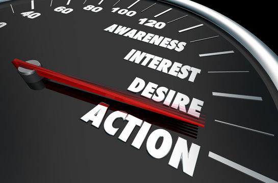 Awareness Interest Desire Action Speedometer Words 3d Illustration