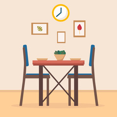 Dining table in kitchen with chairs, clocks, frames, plates and bowl with salad. Flat cartoon style vector illustration.