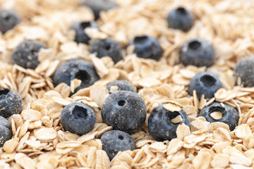 Granola, oatmeal with blueberry