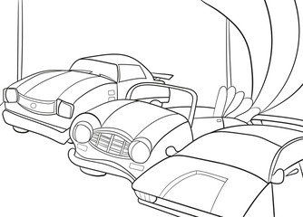 Childrens cartoon coloring book for boys. Vector illustration of a garage with cars. Black lines on a white background