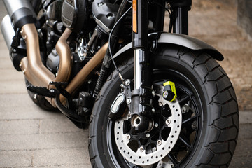 Motorcycle with anti-theft protection on the front brake disc Fototapete