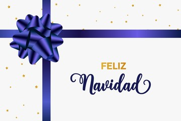 Feliz Navidad Merry Christmas spanish typography. Christmas vector card with blue realistic bow and golden stars.