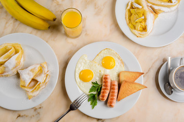Eggs, toasts and dessert