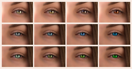 Background collage of different shades of eyes. Blue, green, brown eyes close-up