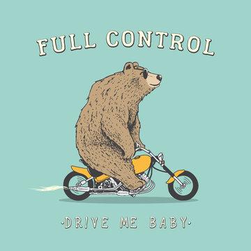 Biker bear is riding on motorcycle.Prints design.Hand drawn vector illustration