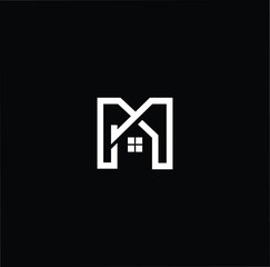 Logo design of M in vector for construction, home, real estate, building, property. Minimal awesome trendy professional logo design template on black background.