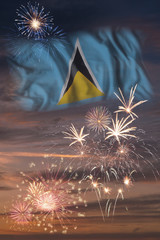 Fireworks and flag of Saint Lucia