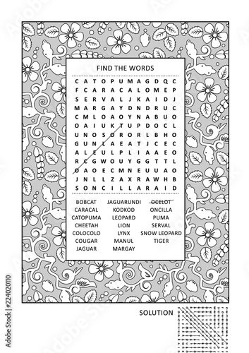 Puzzle and coloring activity page with wild cats word search puzzle ...