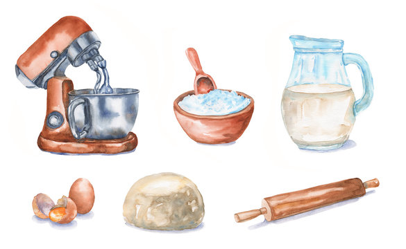 Watercolor set for baking: dough mixer, flour, milk, eggs, dough, rolling pin. Kitchen elements and foods are isolated on white background