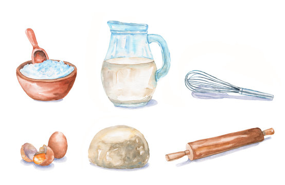 Watercolor set for baking: flour, milk, eggs, dough, rolling pin, whisk. Kitchen elements and foods are isolated on white background