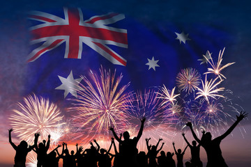 People are looking on fireworks and flag of Australia
