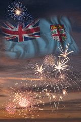 Fireworks and flag of Fiji