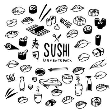 Sushi Illustration Pack (Elements)/Japanese,Japan,Food/Doodle Clip Art/Hand Drawn