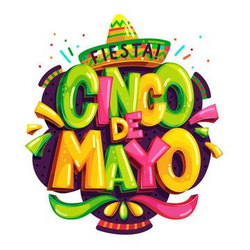 Fiesta cinco de mayo vector color logo on white background