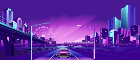 Night Neon City Fotomurales