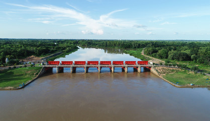 top view from drone camera : Spillway of a hydro electric dam. Environment of the dam.