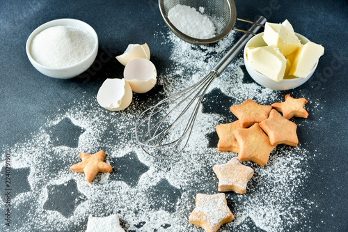 Christmas Cookie Recipes 2019.Christmas Cookies In The Shape Of Stars On A Dark