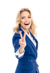 Businesswoman showing two fingers or victory gesture, isolated
