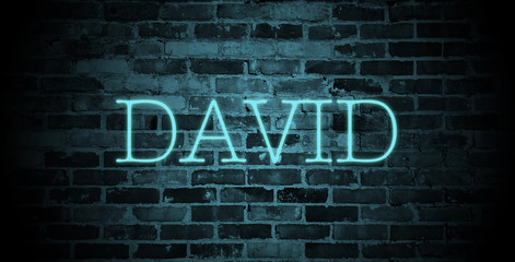 first name David in blue neon on brick wall