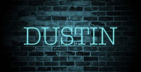 first name Dustin in blue neon on brick wall