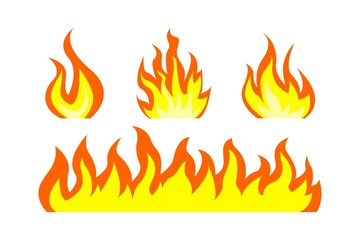 Fire. Flame of fire bonfire. A band of flame of fire. Vector isolated on white background.