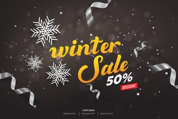 Winter Sale 50% Discount Vector Background Illustration