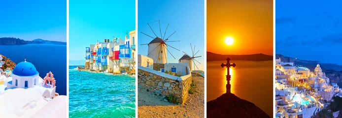 Landscapes of Santorini and Mykonos