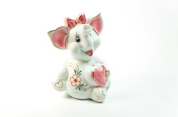 elephant figure on white background, toy elephant, series, white background, isolated