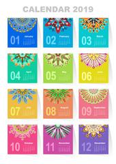 Calendar for 2019 year. Vintage decorative mandala elements. Week starts on sunday. Vintage style template for your design.
