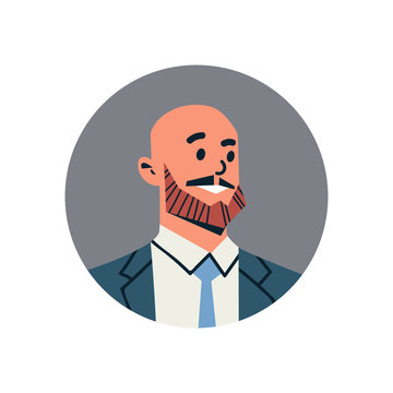 bald head businessman avatar man face profile icon concept online support service male cartoon character portrait isolated flat vector illustration